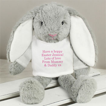 Personalised Easter Bunny Soft Toy - Pink or Blue Font