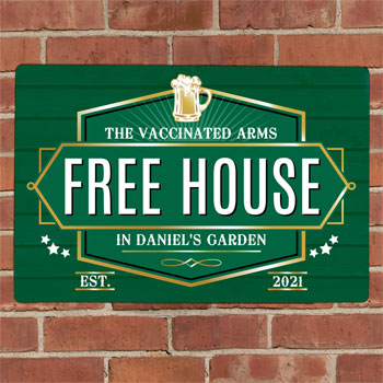 Personalised Free House Green Metal Pub Sign