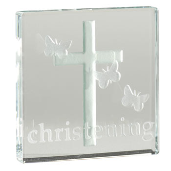 Glass Christening Cross Token With Free Spaceform Gift Bag
