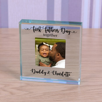Personalised Glass Photo Token First Fathers Day Together