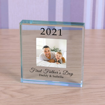 Glass Photo Year Token First Father's Day Keepsake Gift