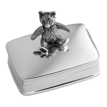 Solid Silver Teddy Tooth Box from Carrs Silver