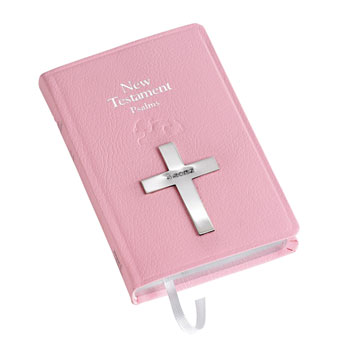 Carrs Pink New Testament Bible With Sterling Silver Cross