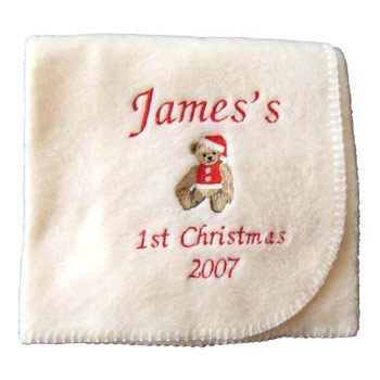 Personalised Christmas Fleece Baby Blanket