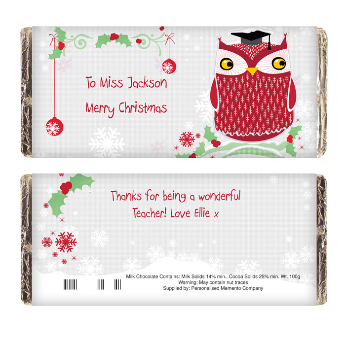 Christmas Owl Teacher Chocolate Bar - Free Delivery